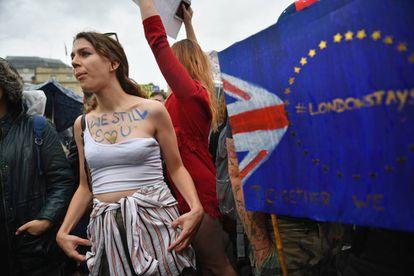 Protesta de ayer en Cardiff, Gales, contra la salida de Reino Unido de la Unión Europea.