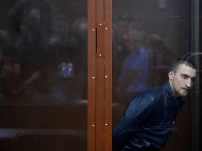 El actor Pavel Ustínov, el lunes en un tribunal de Moscú.