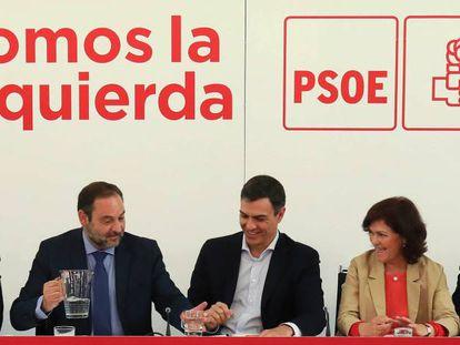 Pedro Sánchez preside la reunión de la ejecutiva federal del PSOE.