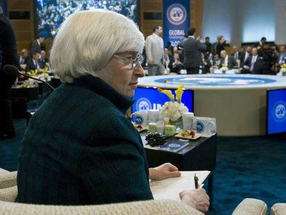 Janet Yellen durante la reunión del FMI
