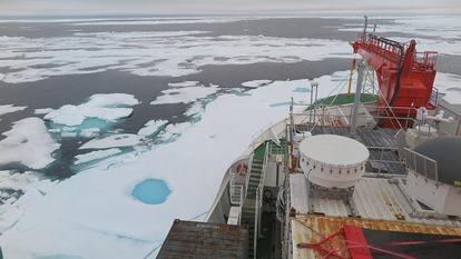 Mar de Wandel, al norte de Groenlandia, el 16 de agosto de 2020, dos días después de tener la menor concentración de hielo registrada en él.
