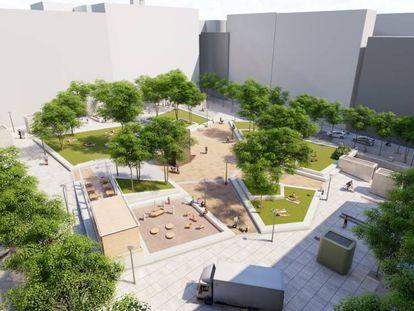 Recreación del aspecto que presentará la plaza de Pedro Zerolo tras su reforma, prevista para primavera.