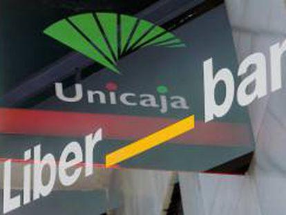 Doble exposición de los logotipos de Unicaja y Liberbank.