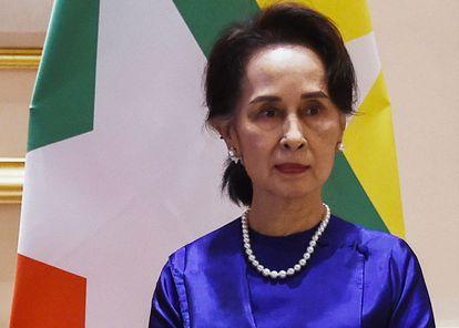 La líder del Gobierno civil depuesto en Myanmar, Aung San Suu Kyi, en una imagen de archivo.