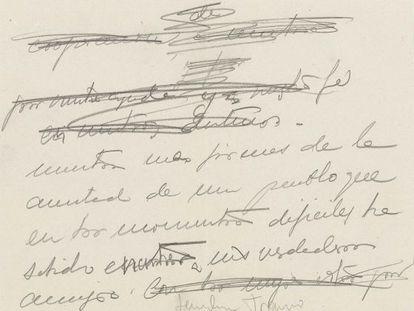 Nota original de Franco a Hitler.