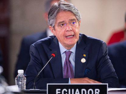 El presidente ecuatoriano, Guillermo Lasso, este sábado en la reunión de la CELAC en México.