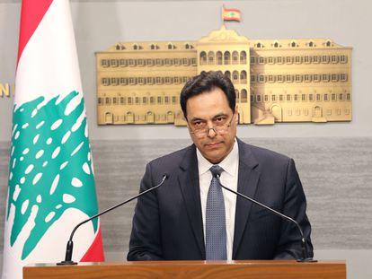 El primer ministro libanés, Hasan Diab, durante el anuncio de 'default' el 7 de marzo de 2020 en Beirut.