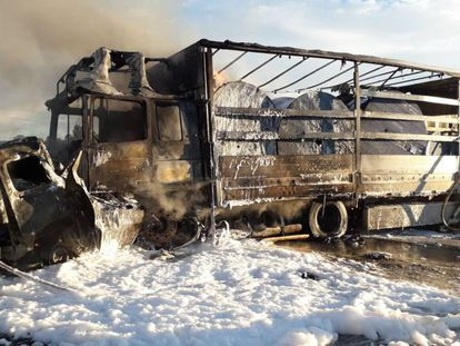 Imagen del camión accidentado en Vilafranca del Penedès.
