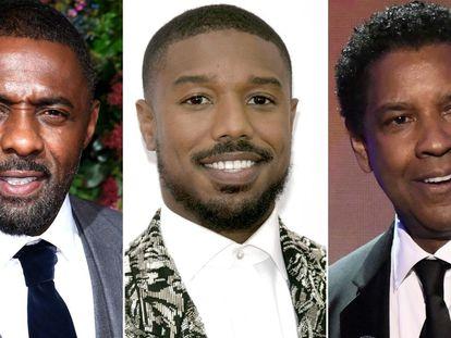 Los actores Idris Elba, Michael B. Jordan y Denzel Washington.