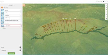 Visualización del modelo general en 3D de la cueva, sobre una superficie con transparencia, para evaluar el potencial de drenaje de las cavidades y visualizar la cueva en relación con la topografía de la superficie.
