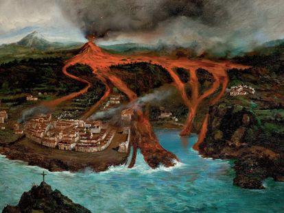 Recreación de la erupción que arrasó Garachico en 1706, por el pintor Ubaldo Bordanova.
