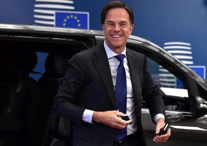Mark Rutte ayer a su llegada a la cumbre que se celebra en Bruselas.