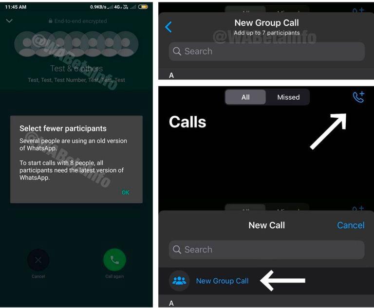 Pantallazos de Webbetainfo sobre las futuras llamas a ocho de Whatsapp