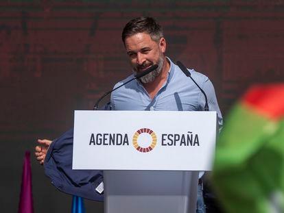 Santiago Abascal, en el acto de Vox en Madrid este domingo.