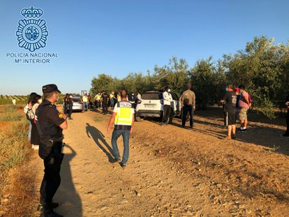 Agentes de la Policía Nacional durante la detención de un clan familiar que explotaba laboralmente a sus trabajadores en Carmona (Sevilla).