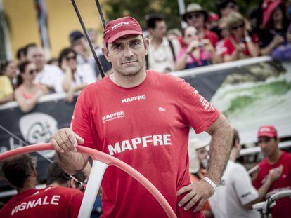 Xabi Fernández, a bordo del Team Mapfre.