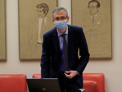 El gobernador del Banco de España, Pablo Hernández de Cos, en la Comisión de Presupuestos del Congreso en noviembre de 2020.