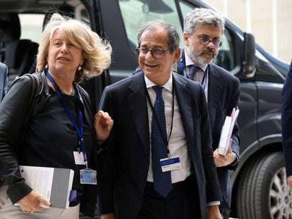 El ministro de Finanzas italiano, Giovani Tria, a su llegada a la reunión del Eurogrupo, en Luxemburgo.