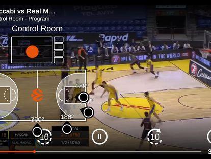 Retransmisión de un partido de baloncesto con las  cámaras 360 grados de YBVR.