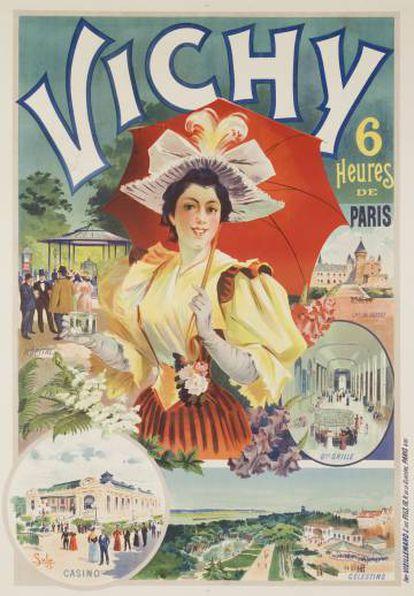 Póster de 1895 que muestra los atractivos turísticos de la ciudad francesa con el característico estilo art nouveau.