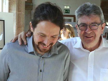 Iglesias y Mélenchon, a su llegada a los cursos de verano de El Escorial.