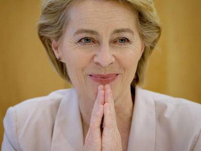 Ursula von der Leyen, durante la entrevista en Berlín.