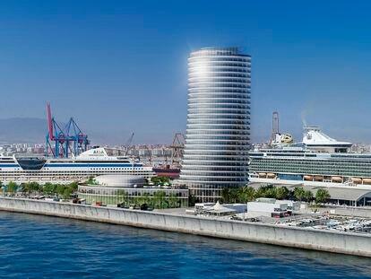 Recreación del hotel Torre del Puerto, en el dique de Levante de Málaga.