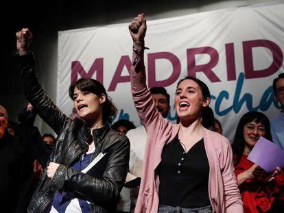 Isabel Serra e Irene Montero, el sábado en Alcorcón.