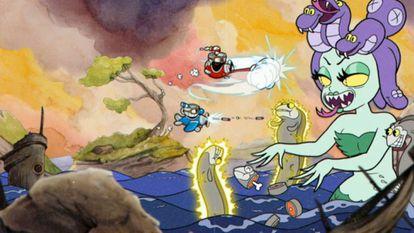 Imagen del videojuego 'Cuphead', con animación tradicional a mano, fondos de acuarela y grabaciones originales de jazz.