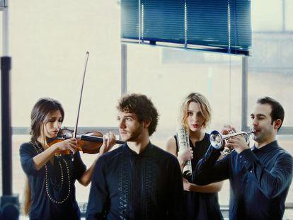 La violinista Leticia Moreno, el director de orquesta Andrés Salado, la pianista Judith Jáuregui y el trompetista Manuel Blanco.