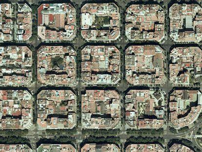 Vista aérea de la cuadrícula del Eixample.