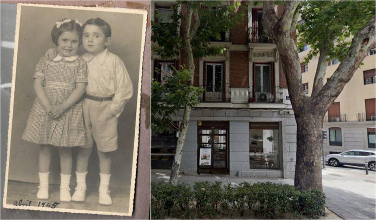 A la izquierda, Ana María y su gemelo en 1945. A la derecha, árboles de la calle Princesa, en Madrid.