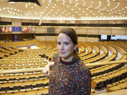 Cristina Cartes, de 30 años, en el Parlamento Europeo, en Bruselas, este viernes.