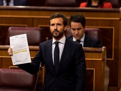 El presidente del Partido Popular, Pablo Casado, durante su intervención en el Congreso de los Diputados, el pasado a 3 de junio.