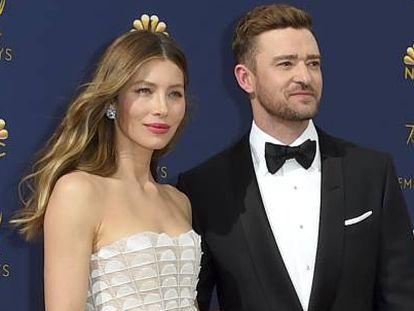 Justin Timberlake y Jessica Biel, en los premios Emmy de 2018.