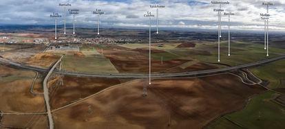 Imagen aérea de algunos de los recintos levantados por Augusto en Herrera de Pisuerga.