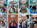 This combination of pictures created on October 11, 2020 shows Spain's Rafael Nadal posing with the  Mousquetaires Cup (The Musketeers) during his thirteen victories in the men's French Tennis Open at the Roland Garros stadium. Nadal poses with his trophies (From top L to bottom R) on June 5, 2005; on June 11, 2006; on June 10, 2007; on June 8, 2008; on June 6, 2010; on June 5, 2011; on June 11, 2012; on June 9, 2013; on June 8, 2014 and on June 11, 2017, on June 10, 2018, June 9, 2019 and October 11, 2020. (Photo by - / AFP)