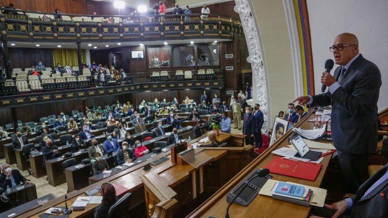 El 'número dos' del chavismo, Diosdado Cabello, en una sesión del Parlamento de Venezuela.