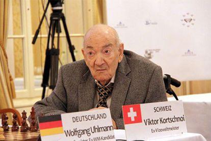 Korchnói, en 2015, durante su duelo con Uhlmann en Zúrich.