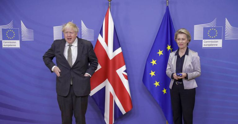 El primer ministro británico, Boris Johnson, y la presidenta de la Comisión Europea, Ursula Von der Leyen, en Bruselas.