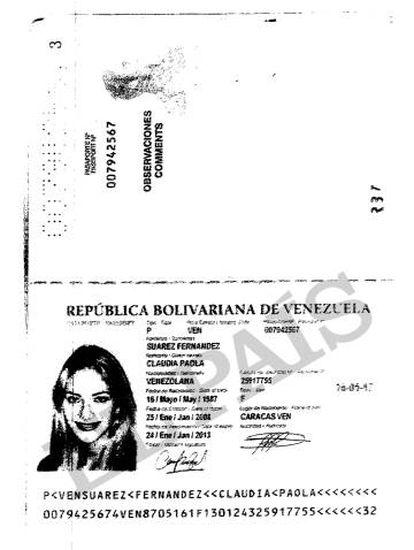 Pasaporte que entregó a la Banca Privada d'Andorra (BPA) la modelo Claudia Paola Suárez al abrir su cuenta el 4 de marzo de 2009.