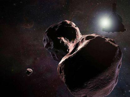 Recreación artística del vuelo de la sonda 'New Horizons' sobre Arrokoth.