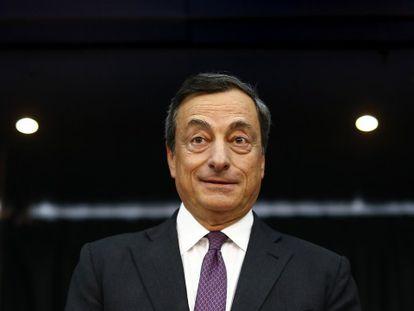 El presidente del BCE en su rueda de prensa de este jueves.