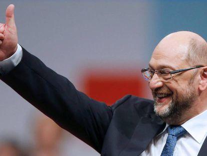 El líder socialdemócrata alemán, Martin Schulz, en el primer congreso del partido tras la derrota electoral este jueves en Berlín.