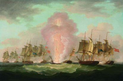 Cuadro que recrea el ataque inglés a la escuadra española en 1804.