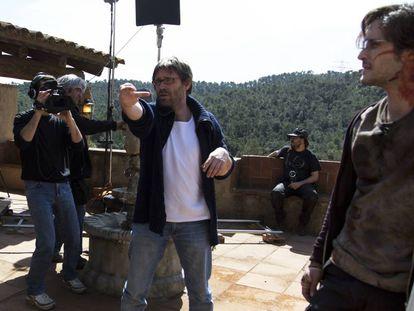 Alberto Marini (con camiseta blanca), en el rodaje de 'Summer Camp'.