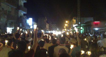 Imagen tomada con un móvil de una manifestación contra el régimen sirio en la ciudad de Camishli, en el noreste del país.