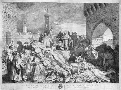 La peste asoló la Europa medieval como ilustra esta imagen de una edición del Decamerón de Boccaccio de la plaga en Florencia.