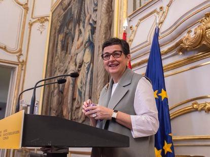 La ministra de Exteriores,  Arancha González Laya, durante un acto con el Equipo Técnico Español de Ayuda y Respuesta a Emergencias (START), en el palacio de Viana, el pasado martes.