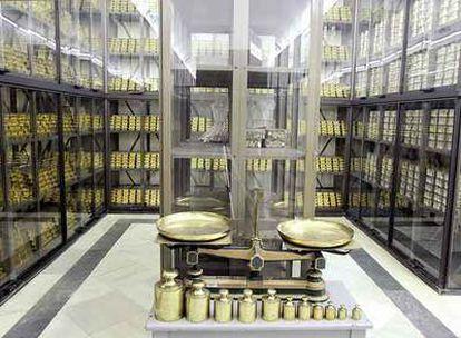 La cámara acorazada donde se guardan las reservas de oro del Banco de España.